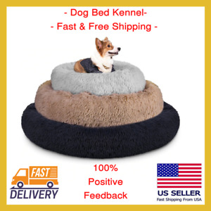 New Round Soft Dog Cat Pet Bed Kennel Cushion Calming House Cozy Blanket Donut