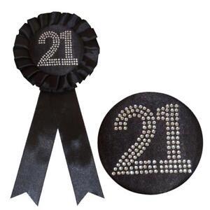 Black Birthday Rosette Badge with Diamante Number - black - Choose Age