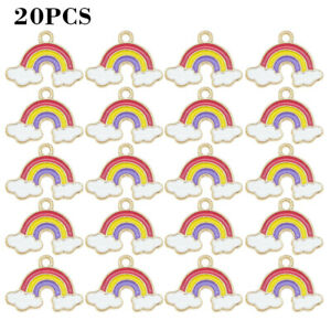20pcs Alloy Enamel Rainbow Cloud Charms Pendant Jewelry DIY Accessories FINE