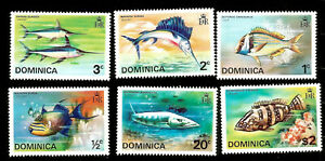 1975 BRITISH DOMINICA EXOTIC FISH MARINE LIFE MINT NEVER HINGED STAMPS BARRACUDA