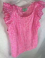 Essentiel Beach Anthropologie Pink White Too Womens 42 M / L Shirt Blouse Ruffle