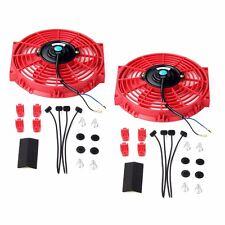 "2X 10"" Slim Fan Push Pull Electric Radiator Cooling 12V Mount Universal Kit Red"