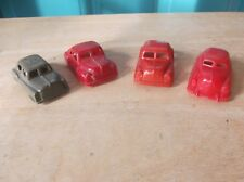 One Small Vintage Plastic Mohawk Military Vehicle & 3 Unmarked Red Plastic Cars