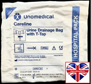 Careline Unomedical Urine Collection Night Bag 45-25-IDH 2 Litre with T-Tap NEW