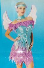True Blue/Purple Fairy Costume w/Wings Adult Sexy Halloween Women S 6-8 NEW