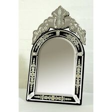 Venetian Style Clear Black Etched Glass Decorative Table or Wall Arched Mirror