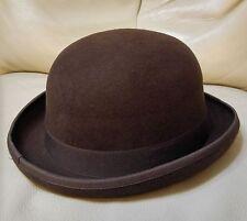 Wool Felt Dura Bowler Derby Top Hat Men Women Unisex | Brown | 59cm | VINTAGE