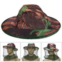 Camouflage Mosquito Net Fishing Hat Bee keeping Insects Prevention Cap BEST