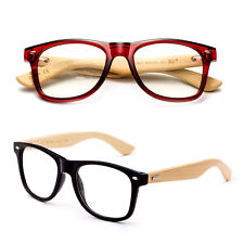 Real Bamboo Temple Squared Retro Frame Nerdy Clear Lens Glasses Blue Red Brown