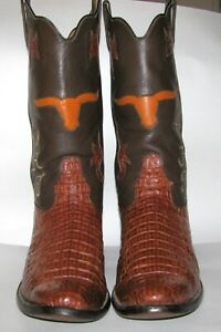 Custom Handmade Alligator Boots Brown Rocky Carroll $2,500 Retail Lite Wear 7.5C