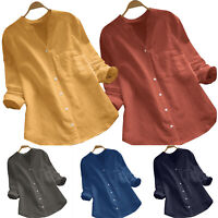Women Summer Gypsy Baggy Tunic Top Shirt Ladies Long Sleeve Blouse Plus Size Lot