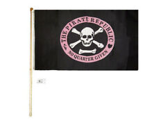 5' Wood Flag Pole Kit Wall Mount Bracket With 3x5 Pirate Republic Pink Poly Flag