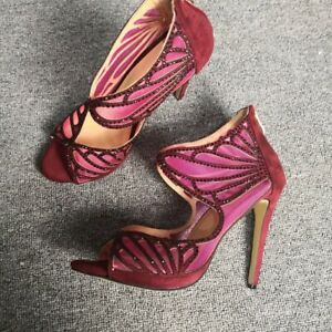 Womens New Fashion Mesh Diamante Zipper Stiletto Amkle Boots Sandals Shoes ESCE