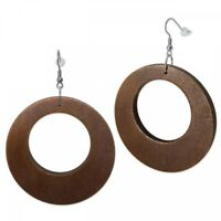1 Paar schöne Ohrringe aus Holz Ohrschmuck organisch Natur Ethno Style braun