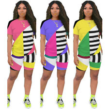 Women Short Sleeves Geometric Stripes Patchwork Casual Sports Short Pants Set