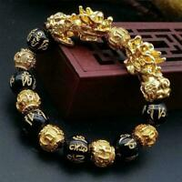 Feng Shui Black Obsidian Alloy Wealth Bracelet Quality Original FREESHIPPIN M2P2