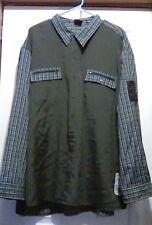 BUGLE BOY -Soft Poly/Viscose Blend -LS Button Up Green w/Plaid Details SHIRT -3X