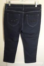 Jordache Womens Capri Jeans 6 Straight Crop Embellished Pockets Cotton Blend