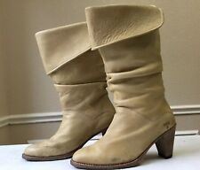 Vtg FRYE Dorado Slouch Boots 77580 Fold-Over Cuff Tan Brown Leather Womens 10