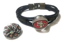 NFL Fashion Snap San Francisco 49ers Logo Leather Bracelet  With 2 Charms For Fo