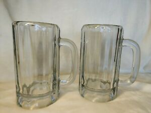 TWO Heavy Duty Clear Glass Beer Mugs 26oz.
