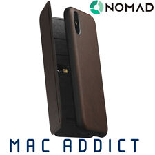 Nomad Horween Leather Tri-fold Folio Case for iPhone X / XS - Rustic Brown