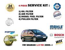 Per VW Sharan 1.9TDi 90BHP 05/2000 -- > Olio Aria Carburante Polline 4 Filtro Servizio Kit
