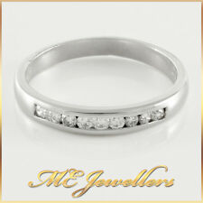 Ladies Solid 18K 18ct 750 Channel Set 9 x 0.025ct Diamond Wedding Band Ring Sz N