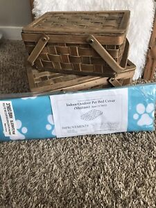 Improvements Indoor Outdoor Pet Bed Cover Medium Teal/white Paw Print