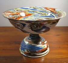 Desert Sands Pottery Large Blue Multi Color Mission Swirl Footed Compote. 4E