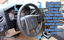 2008 2009 2010 Ford F250 F350 Lariat FX4 XLT-Leather Steering Wheel Cover, Black