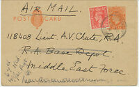 2424 1942 GVI 2 D postal stationery pc uprated w 1 D flown card WISSET to M.E.F.