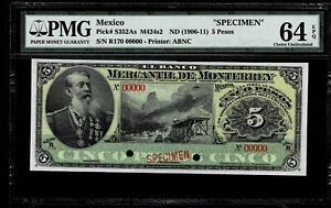"Mexico RARE $5 Pesos""SPECIMEN""El Banco Mercantil De Monterey 1906-1911 PMG 64"