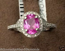 White Gold Oval Halo Vintage Pink Sapphie Diamond Engagement Weding Fashion Ring