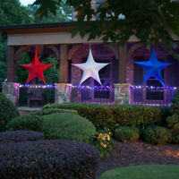 Red White & Blue Patriotic Stars, Fold-Flat Lightweight 4th of July Decorations
