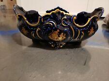 Limoges France Cobalt Blue Gold Porcelaine D'Art Centerpiece Bowl