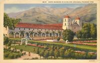 Linen Postcard CA K176 Santa Barbara Mission Grounds Spanish Style Cancel 1938