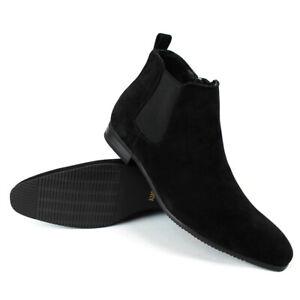 Black Suede Men Ankle Dress Boot Side Zipper Round Toe Leather Chelsea ÃZARMAN