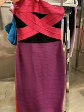 Herve Leger Simone Colorblock Strapless Bandeau Bandage Dress Purple/Fuchsia S
