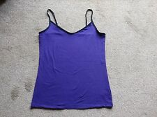 BNWOT Ladies Ex M&S Strappy Camisole Vest Purple/Black Edging Size 16