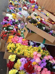 20 Artificial Flower Bunches JobLot Silk Faux Bush Posy Bulk Buy Grave Clearance