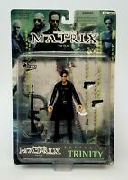"""1999 The Matrix """"The Film"""" Trinity with Coat Action Figure Warner Bros N2 Toys"""