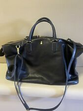 LONDON FOG BLACK LEATHER TRAVEL BAG