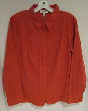 """Fashion Bug pumpkin orange stripe w embroidery l.s cotton blouse  M  42"""" NWT"""