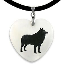 Schipperke Dog Natural Mother Of Pearl Heart Pendant Necklace Chain PP6