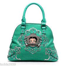 Betty Boop crown mint Rhinestones mini shoulder Bag handbag  silver studs