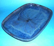 Stoneware Studio Pottery - Attractive Blue Mottled Designed Oblong Dish (M.M).