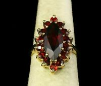 Solid Exclusive Women's 2.39CT Marquise Cut Red Garnet 14K Yellow Gold Over Ring