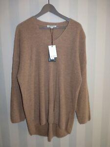 M&S Autograph  L Wool Cashmere V Neck Oversize Jumper Camel 16 18 20 Large