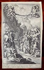 BIBLE The Raining down Manna & The Gushing of Water from the Rock 1690 Freman